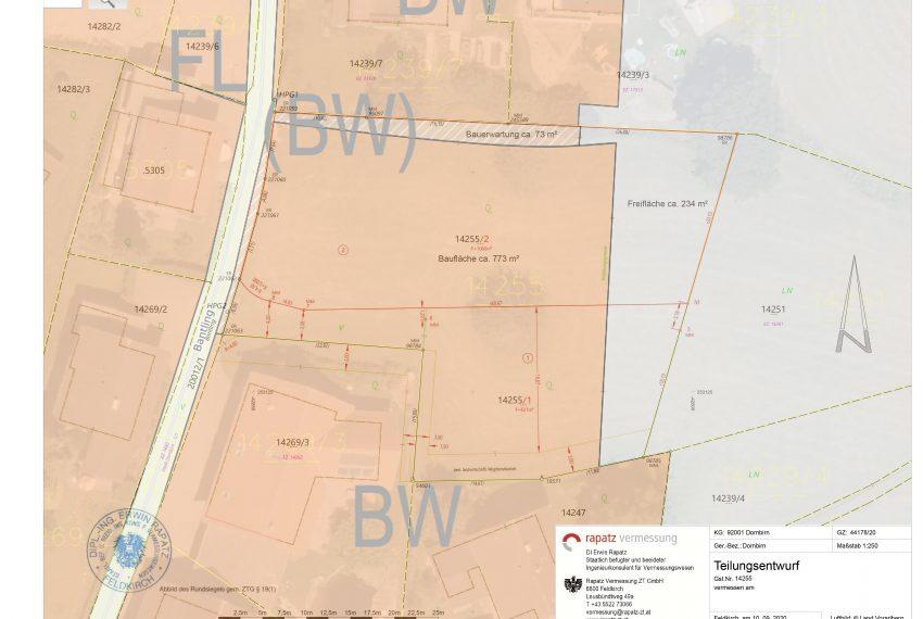 Teilungsplan über Flächenwidmung